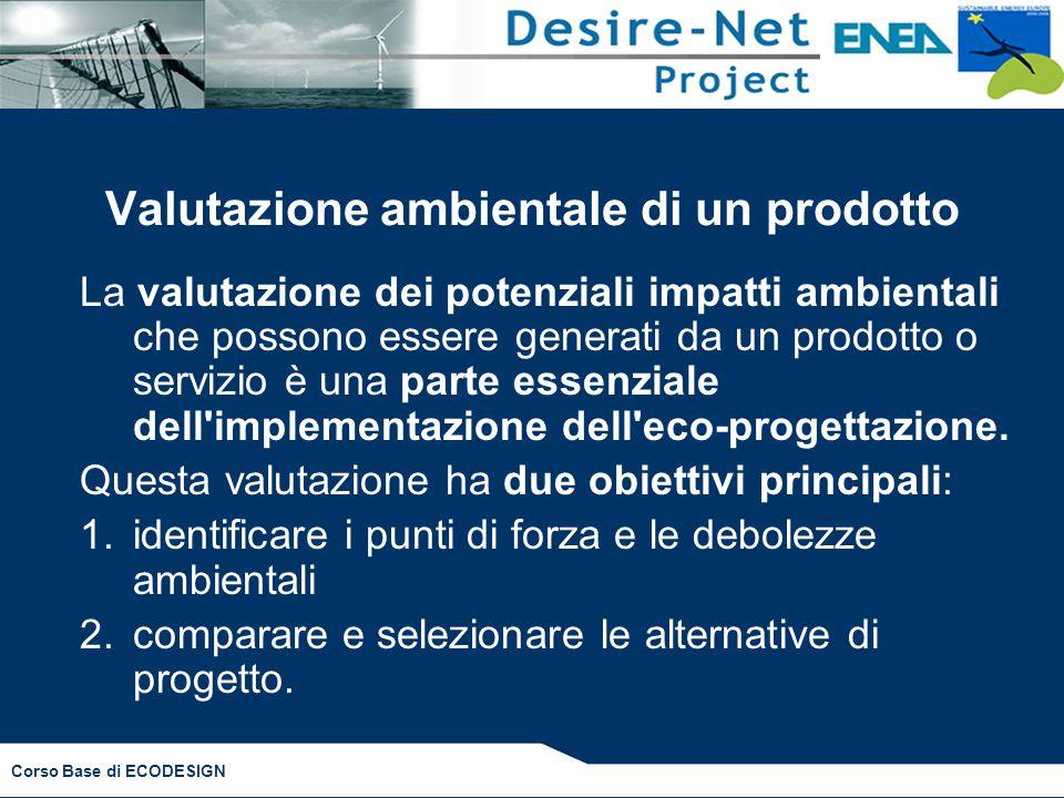 Corso Base di ECODESIGN Valutazione ambientale di un prodotto La valutazione dei potenziali impatti ambientali che possono essere generati da un prodotto o servizio è una parte essenziale dell implementazione dell eco-progettazione.