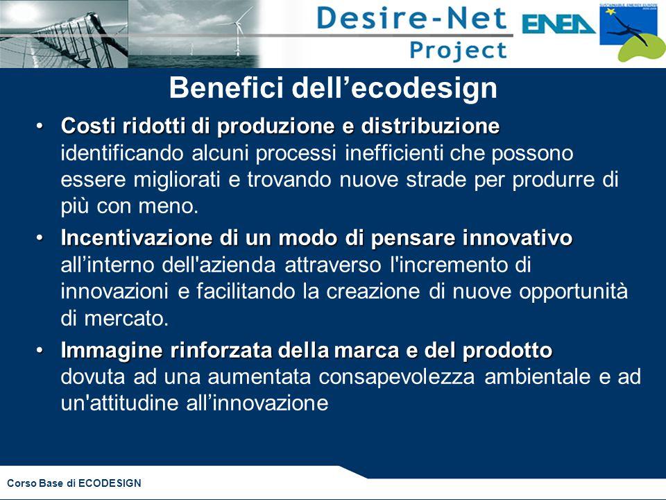 Corso Base di ECODESIGN Benefici dell'ecodesign Costi ridotti di produzione e distribuzioneCosti ridotti di produzione e distribuzione identificando a