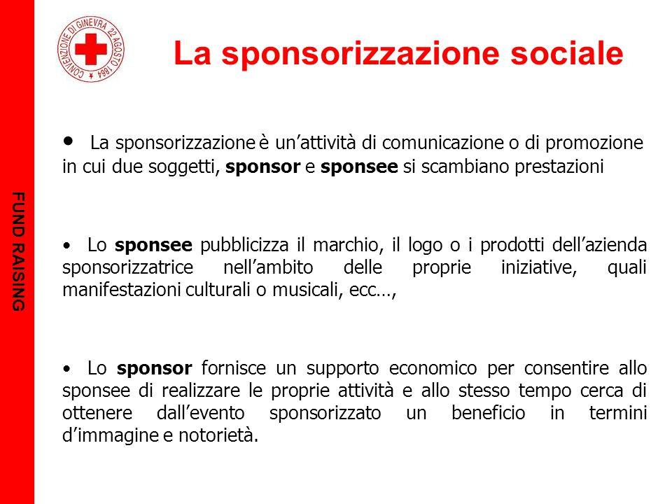 La sponsorizzazione sociale FUND RAISING La sponsorizzazione è un'attività di comunicazione o di promozione in cui due soggetti, sponsor e sponsee si