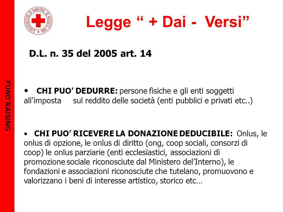 """Legge """" + Dai - Versi"""" FUND RAISING D.L. n. 35 del 2005 art. 14 CHI PUO' DEDURRE: persone fisiche e gli enti soggetti all'imposta sul reddito delle so"""