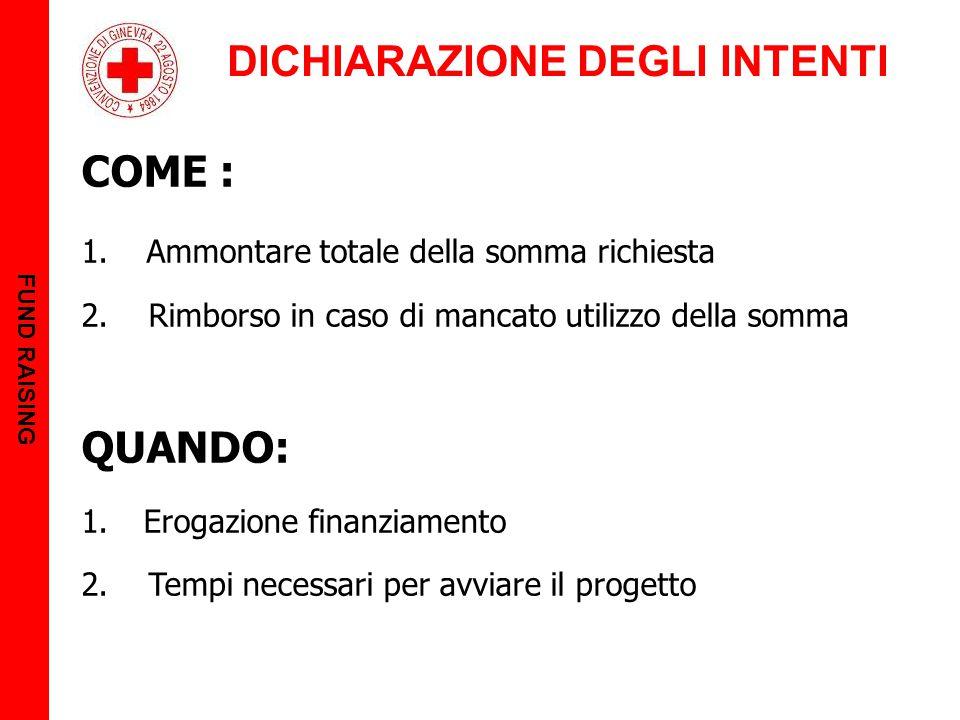 DICHIARAZIONE DEGLI INTENTI FUND RAISING COME : 1.