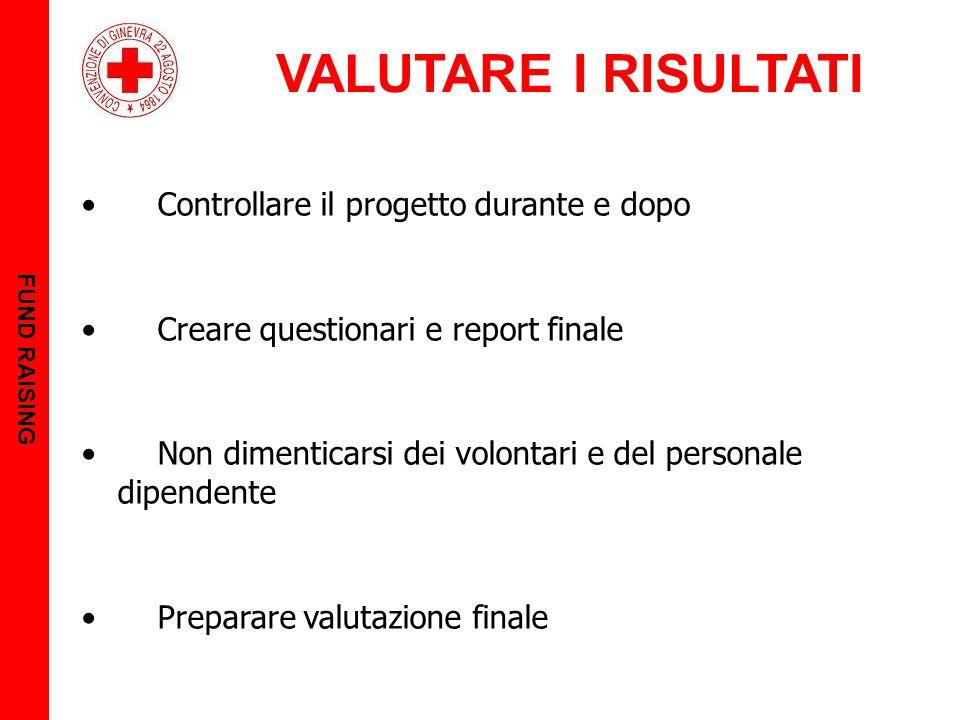 VALUTARE I RISULTATI FUND RAISING Controllare il progetto durante e dopo Creare questionari e report finale Non dimenticarsi dei volontari e del personale dipendente Preparare valutazione finale