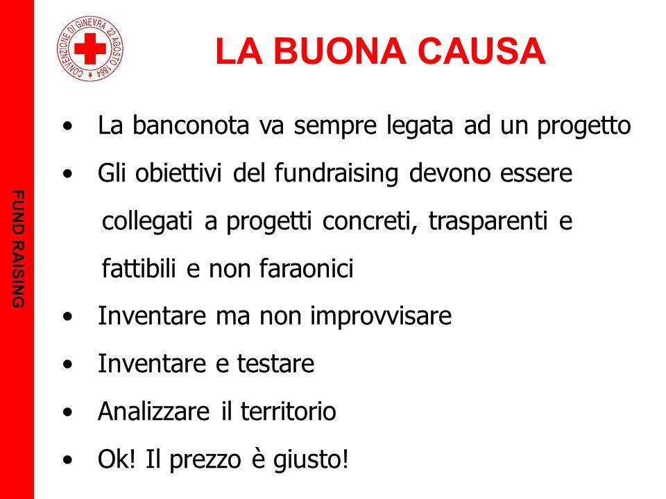 LA BUONA CAUSA FUND RAISING La banconota va sempre legata ad un progetto Gli obiettivi del fundraising devono essere collegati a progetti concreti, tr