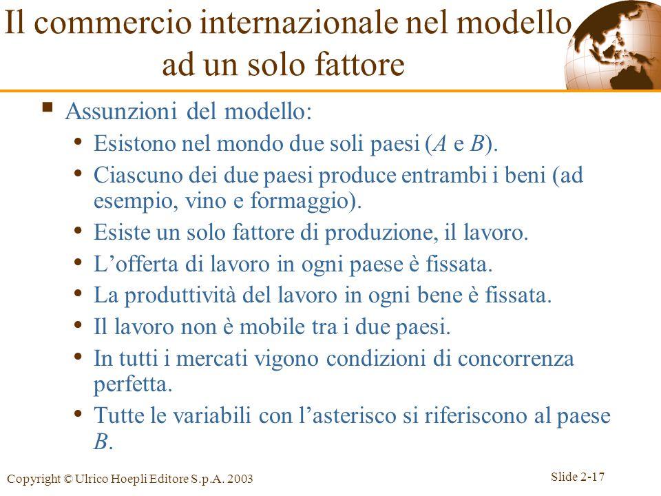 Slide 2-17 Copyright © Ulrico Hoepli Editore S.p.A. 2003 Il commercio internazionale nel modello ad un solo fattore  Assunzioni del modello: Esistono