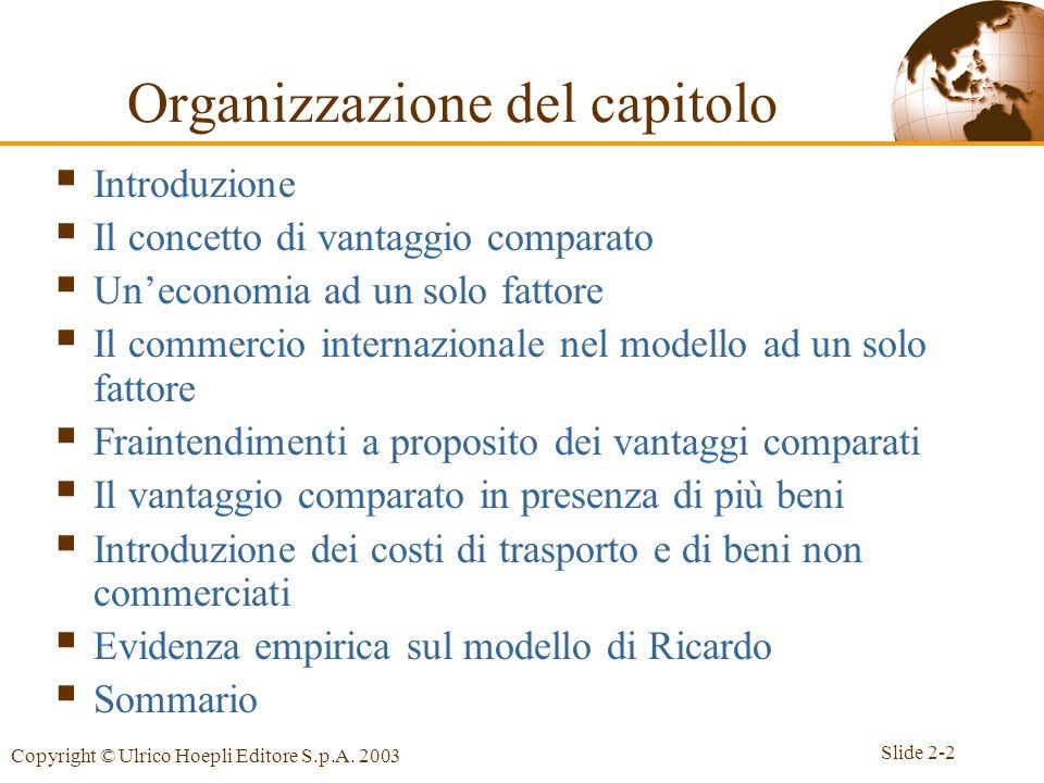Slide 2-2 Copyright © Ulrico Hoepli Editore S.p.A. 2003 Organizzazione del capitolo  Introduzione  Il concetto di vantaggio comparato  Un'economia