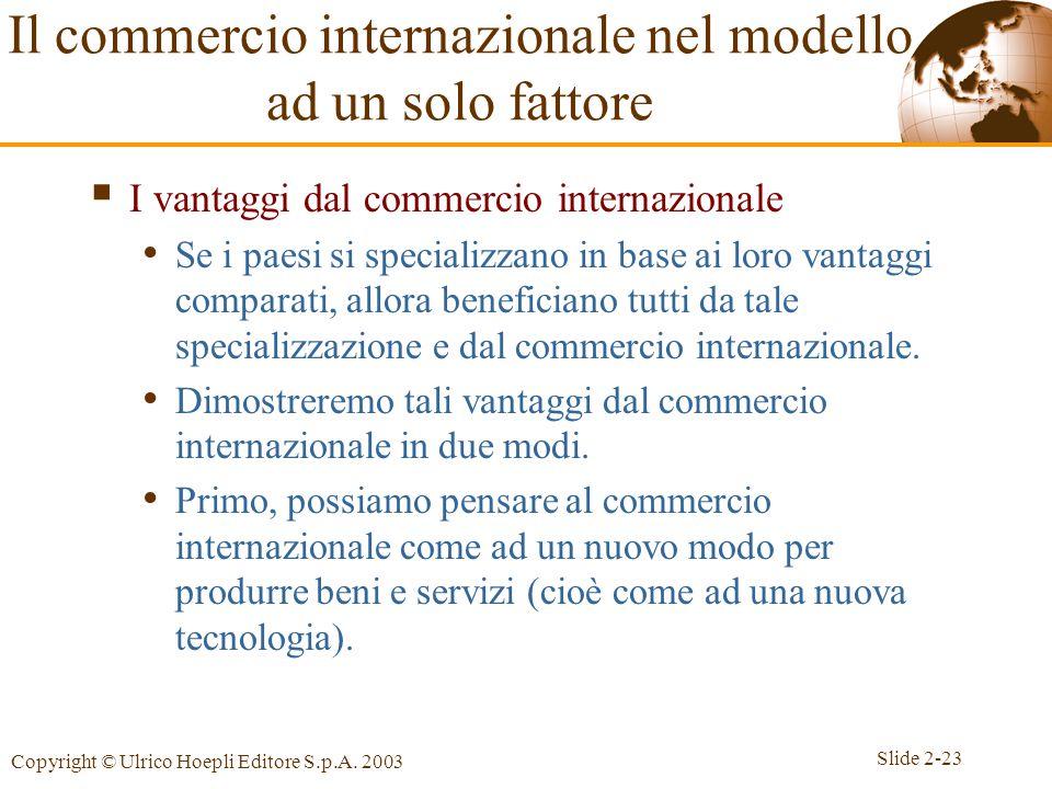 Slide 2-23 Copyright © Ulrico Hoepli Editore S.p.A. 2003  I vantaggi dal commercio internazionale Se i paesi si specializzano in base ai loro vantagg