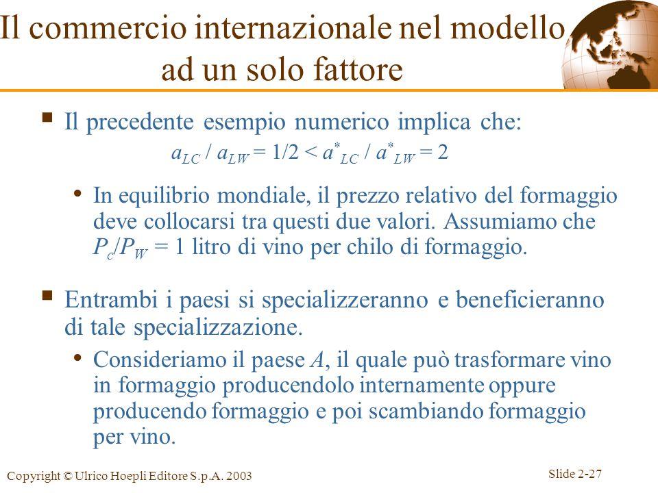 Slide 2-27 Copyright © Ulrico Hoepli Editore S.p.A. 2003  Il precedente esempio numerico implica che: a LC / a LW = 1/2 < a * LC / a * LW = 2 In equi