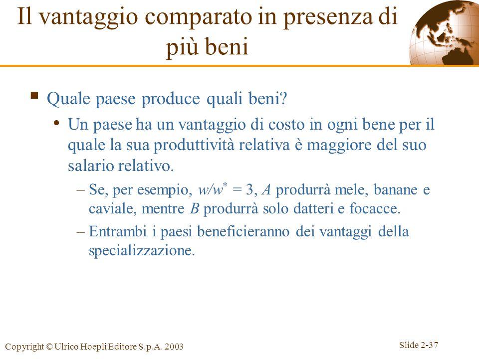 Slide 2-37 Copyright © Ulrico Hoepli Editore S.p.A. 2003  Quale paese produce quali beni? Un paese ha un vantaggio di costo in ogni bene per il quale