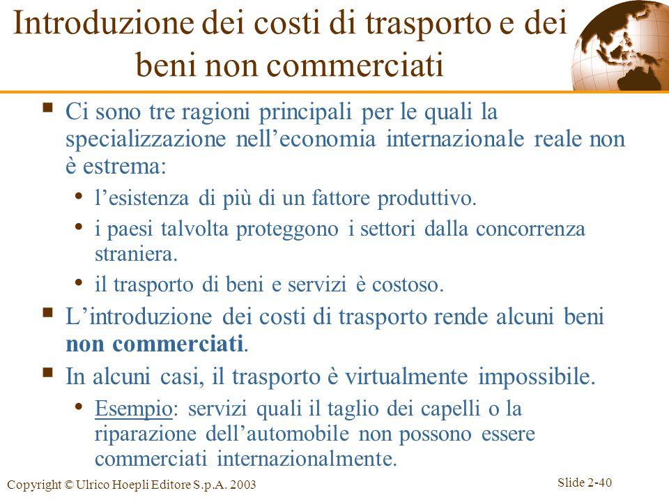 Slide 2-40 Copyright © Ulrico Hoepli Editore S.p.A. 2003 Introduzione dei costi di trasporto e dei beni non commerciati  Ci sono tre ragioni principa