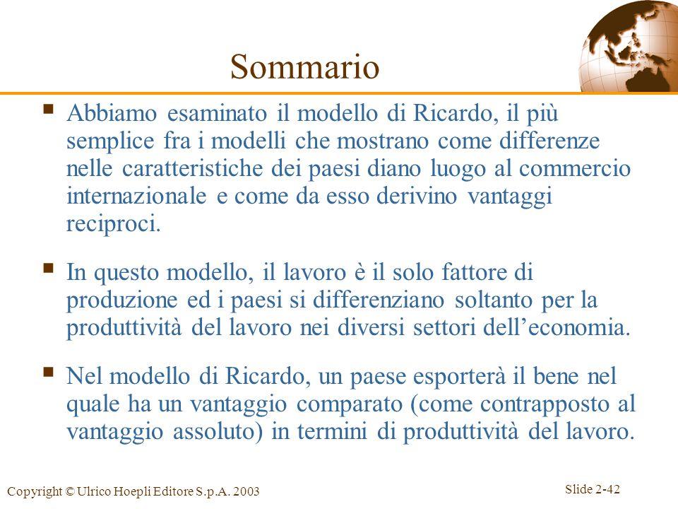 Slide 2-42 Copyright © Ulrico Hoepli Editore S.p.A. 2003 Sommario  Abbiamo esaminato il modello di Ricardo, il più semplice fra i modelli che mostran