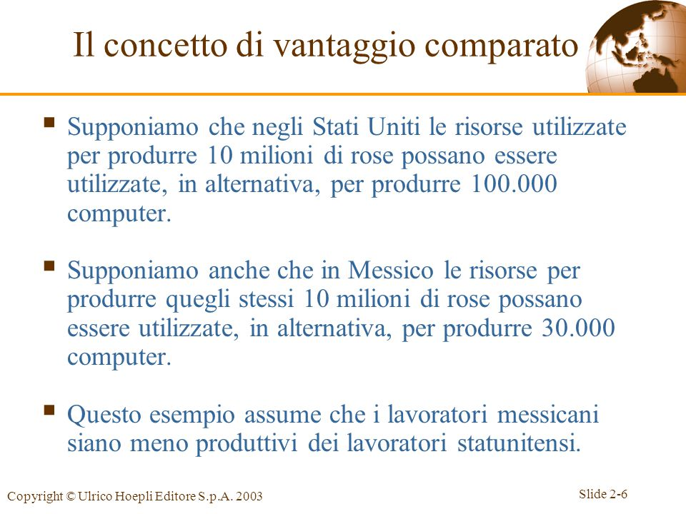 Slide 2-6 Copyright © Ulrico Hoepli Editore S.p.A. 2003  Supponiamo che negli Stati Uniti le risorse utilizzate per produrre 10 milioni di rose possa