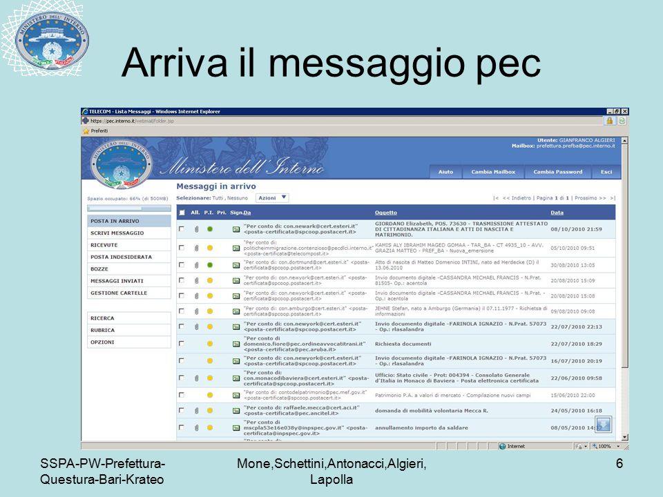 SSPA-PW-Prefettura- Questura-Bari-Krateo Mone,Schettini,Antonacci,Algieri, Lapolla 6 Arriva il messaggio pec