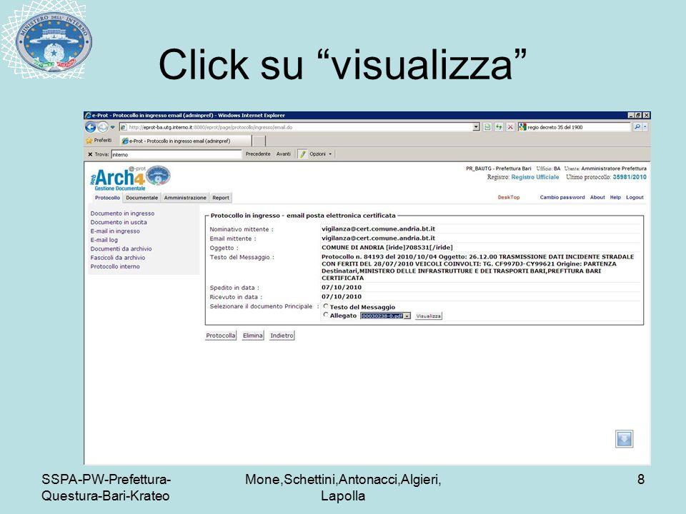 SSPA-PW-Prefettura- Questura-Bari-Krateo Mone,Schettini,Antonacci,Algieri, Lapolla 8 Click su visualizza