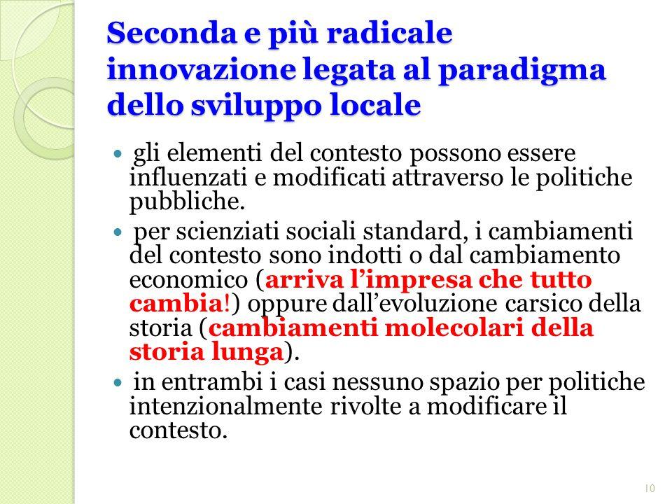 Seconda e più radicale innovazione legata al paradigma dello sviluppo locale gli elementi del contesto possono essere influenzati e modificati attraverso le politiche pubbliche.