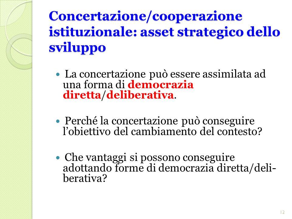 Concertazione/cooperazione istituzionale: asset strategico dello sviluppo La concertazione può essere assimilata ad una forma di democrazia diretta/deliberativa.