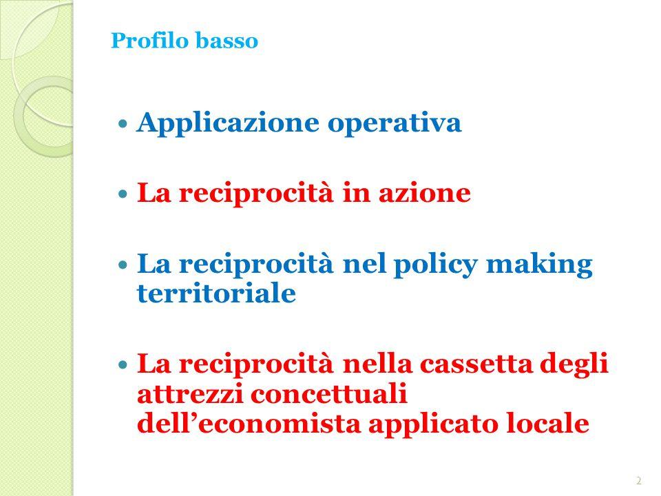 Profilo basso Applicazione operativa La reciprocità in azione La reciprocità nel policy making territoriale La reciprocità nella cassetta degli attrezzi concettuali dell'economista applicato locale 2