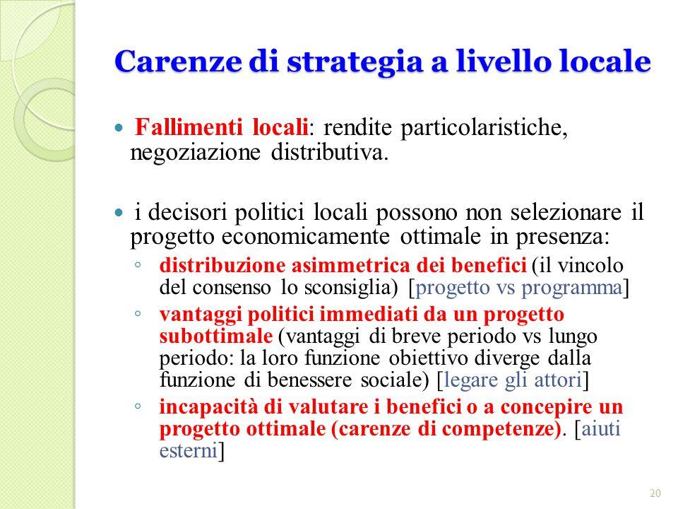 Carenze di strategia a livello locale Fallimenti locali: rendite particolaristiche, negoziazione distributiva.