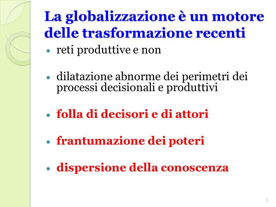 La globalizzazione è un motore delle trasformazione recenti  reti produttive e non  dilatazione abnorme dei perimetri dei processi decisionali e produttivi  folla di decisori e di attori  frantumazione dei poteri  dispersione della conoscenza 5