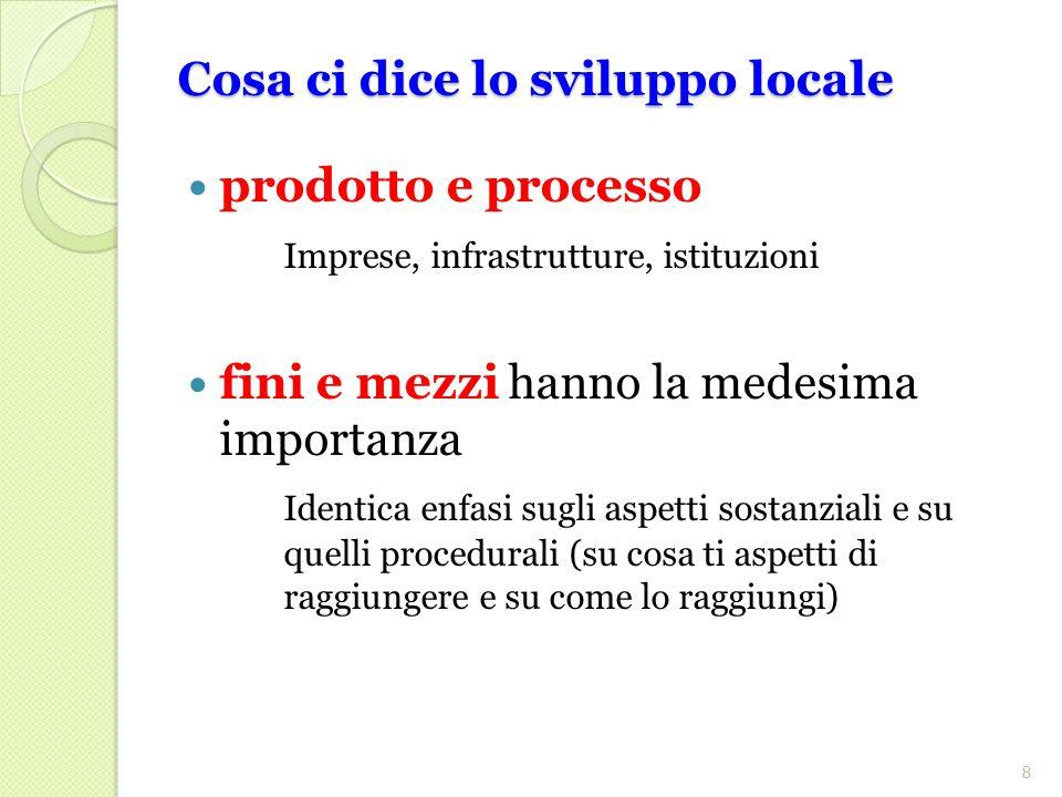Cosa ci dice lo sviluppo locale prodotto e processo Imprese, infrastrutture, istituzioni fini e mezzi hanno la medesima importanza Identica enfasi sugli aspetti sostanziali e su quelli procedurali (su cosa ti aspetti di raggiungere e su come lo raggiungi) 8