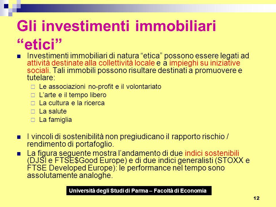 """Università degli Studi di Parma – Facoltà di Economia 12 Gli investimenti immobiliari """"etici"""" Investimenti immobiliari di natura """"etica"""" possono esser"""