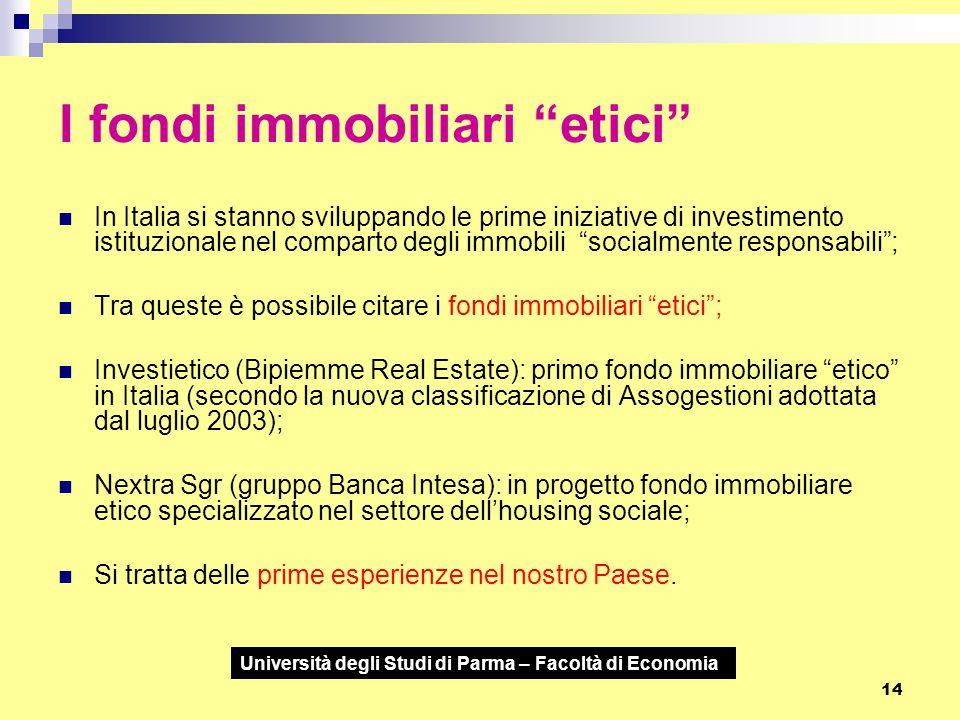 """Università degli Studi di Parma – Facoltà di Economia 14 I fondi immobiliari """"etici"""" In Italia si stanno sviluppando le prime iniziative di investimen"""