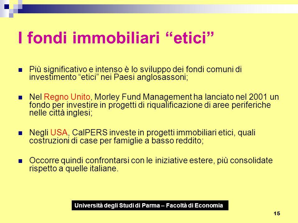 """Università degli Studi di Parma – Facoltà di Economia 15 I fondi immobiliari """"etici"""" Più significativo e intenso è lo sviluppo dei fondi comuni di inv"""