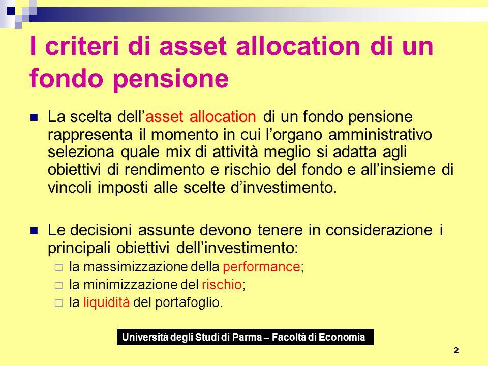 2 I criteri di asset allocation di un fondo pensione La scelta dell'asset allocation di un fondo pensione rappresenta il momento in cui l'organo ammin
