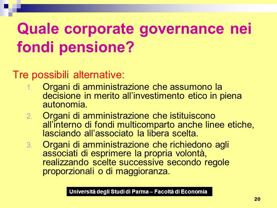 Università degli Studi di Parma – Facoltà di Economia 20 Quale corporate governance nei fondi pensione? Tre possibili alternative: 1. Organi di ammini