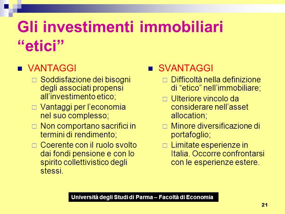 """Università degli Studi di Parma – Facoltà di Economia 21 Gli investimenti immobiliari """"etici"""" VANTAGGI  Soddisfazione dei bisogni degli associati pro"""