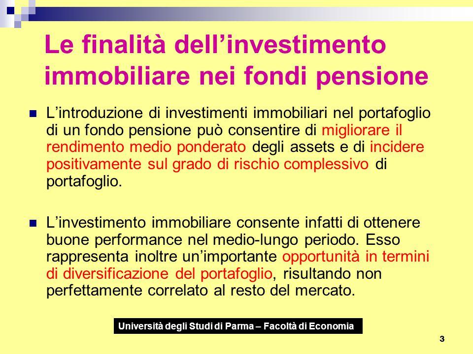 Università degli Studi di Parma – Facoltà di Economia 3 Le finalità dell'investimento immobiliare nei fondi pensione L'introduzione di investimenti im
