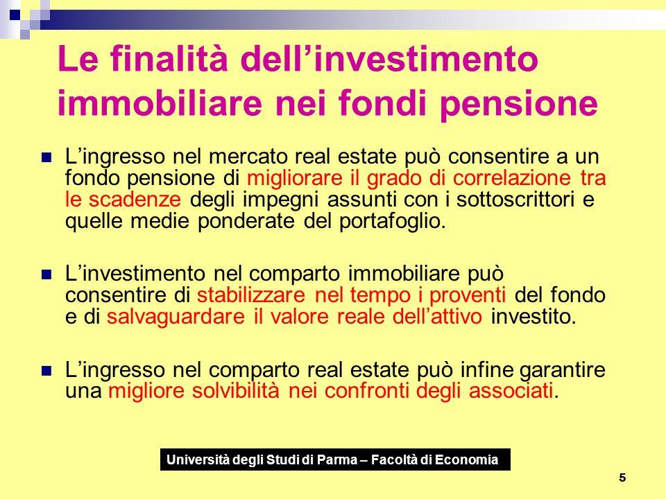 Università degli Studi di Parma – Facoltà di Economia 5 Le finalità dell'investimento immobiliare nei fondi pensione L'ingresso nel mercato real estat