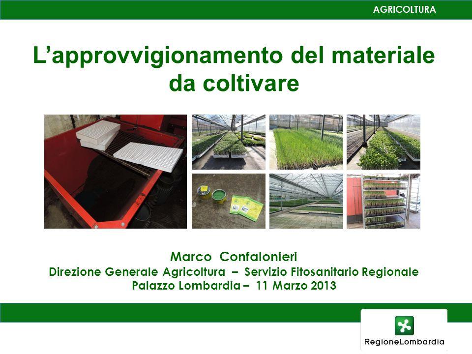 L'approvvigionamento del materiale da coltivare Marco Confalonieri Direzione Generale Agricoltura – Servizio Fitosanitario Regionale Palazzo Lombardia – 11 Marzo 2013