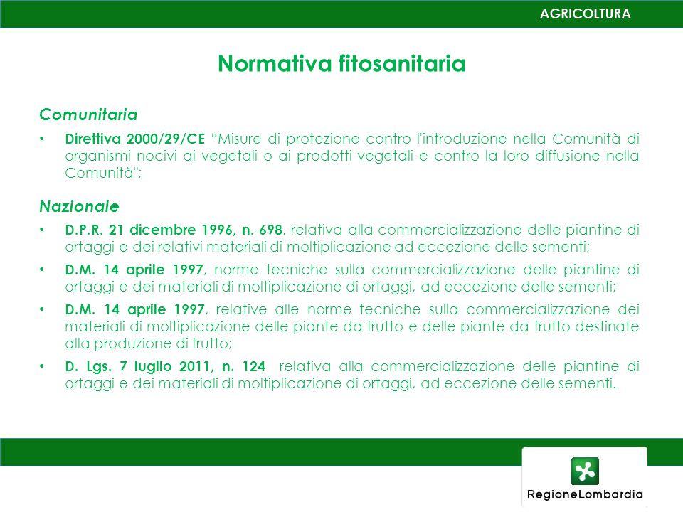 Normativa fitosanitaria Comunitaria Direttiva 2000/29/CE Misure di protezione contro l introduzione nella Comunità di organismi nocivi ai vegetali o ai prodotti vegetali e contro la loro diffusione nella Comunità ; Nazionale D.P.R.