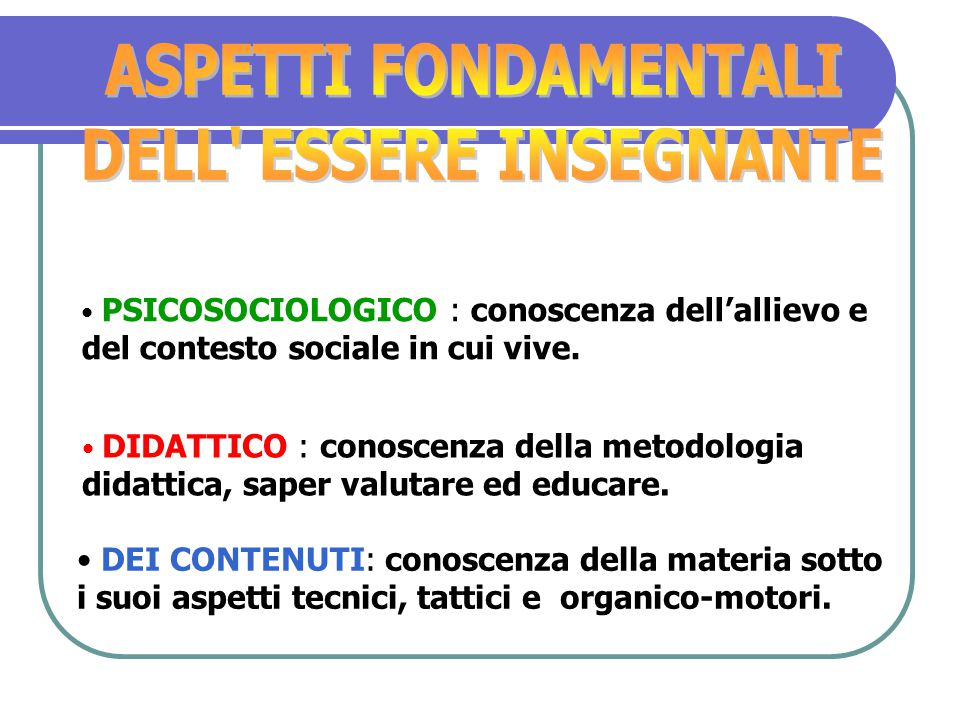 COMUNICAZIONE (saper entrare in relazione ) ORGANIZZAZIONE (saper selezionare gli obiettivi ) GESTIONE DEL TEMPO ( frequenza, intensità) TECNOLOGIE (o