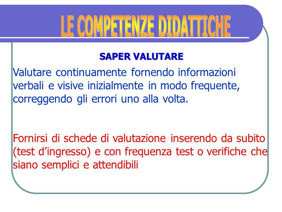 Emergono le seguenti caratteristiche: Il carattere processuale della verifica e della valutazione, cioè perché e quando verificare.