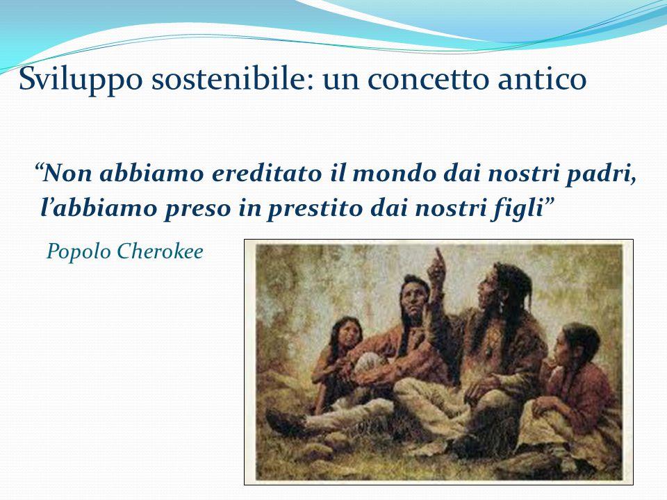 Non abbiamo ereditato il mondo dai nostri padri, l'abbiamo preso in prestito dai nostri figli Popolo Cherokee Sviluppo sostenibile: un concetto antico