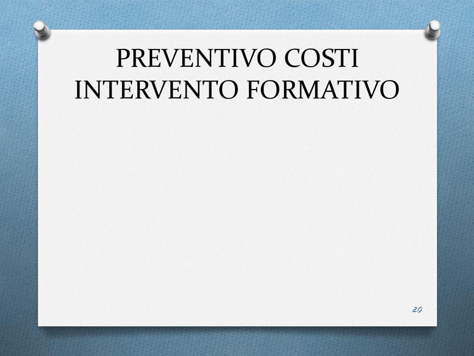 PREVENTIVO COSTI INTERVENTO FORMATIVO 20