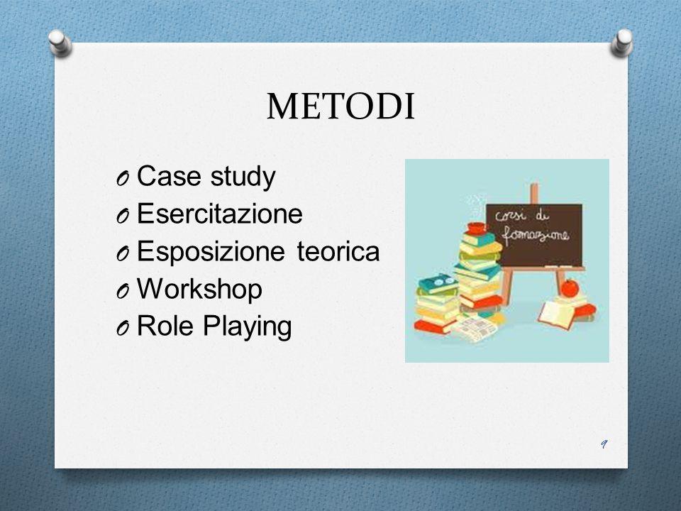 METODI O Case study O Esercitazione O Esposizione teorica O Workshop O Role Playing 9