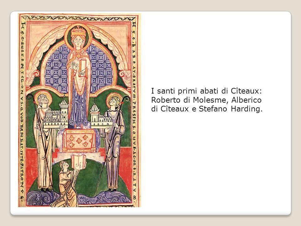 I santi primi abati di Cîteaux: Roberto di Molesme, Alberico di Cîteaux e Stefano Harding.