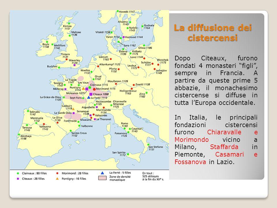 La diffusione dei cistercensi Dopo Citeaux, furono fondati 4 monasteri figli , sempre in Francia.