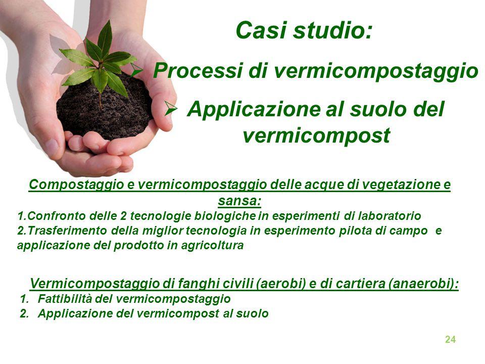 Casi studio:  Processi di vermicompostaggio  Applicazione al suolo del vermicompost Compostaggio e vermicompostaggio delle acque di vegetazione e sa