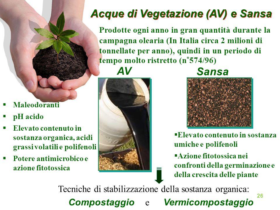 Acque di Vegetazione (AV) e Sansa Prodotte ogni anno in gran quantità durante la campagna olearia (In Italia circa 2 milioni di tonnellate per anno),