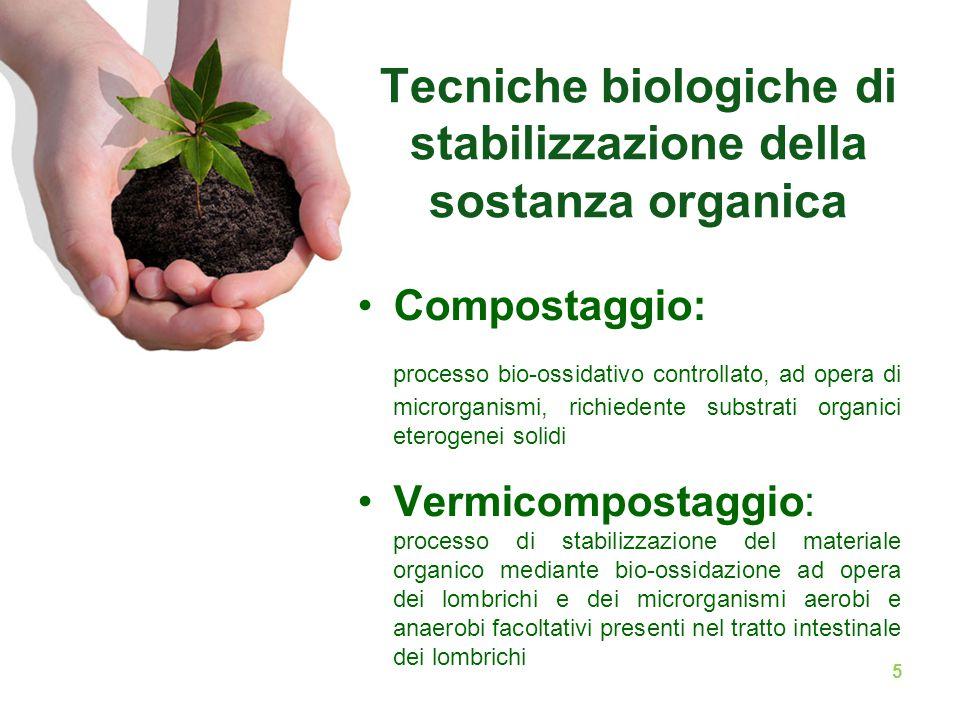 Tecniche biologiche di stabilizzazione della sostanza organica Compostaggio: processo bio-ossidativo controllato, ad opera di microrganismi, richieden