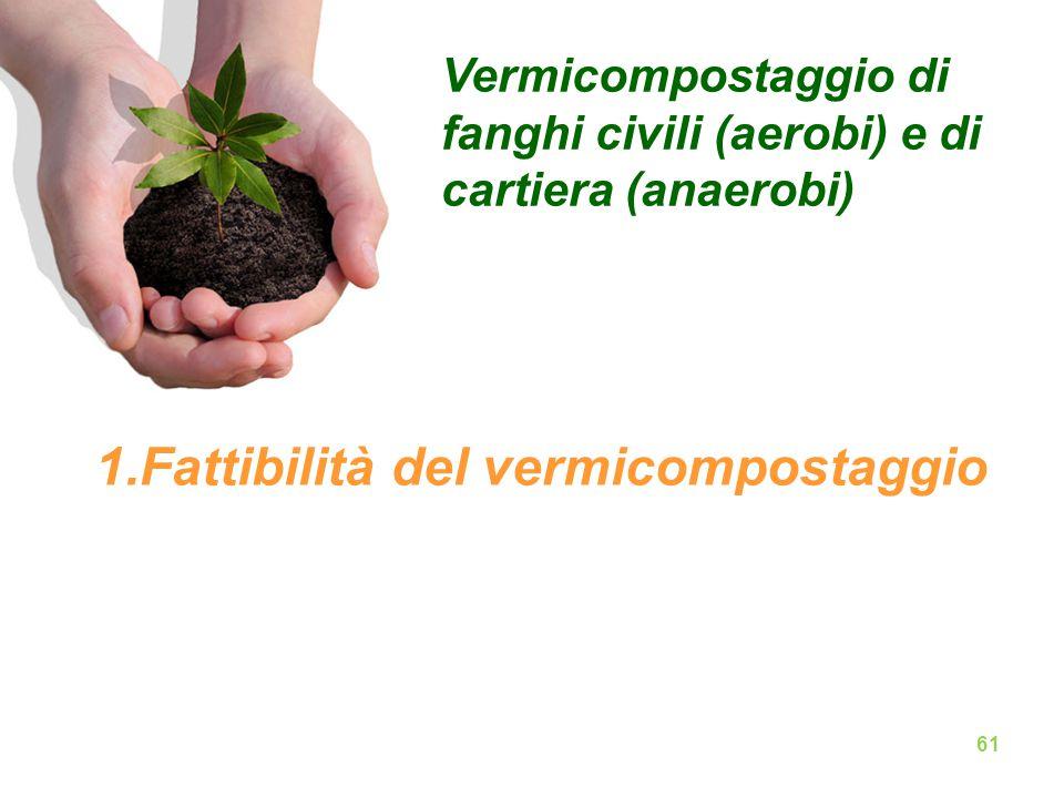 Vermicompostaggio di fanghi civili (aerobi) e di cartiera (anaerobi) 1.Fattibilità del vermicompostaggio 61