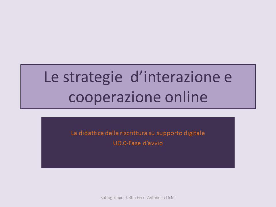 Le strategie d'interazione e cooperazione online La didattica della riscrittura su supporto digitale UD.0-Fase d'avvio Sottogruppo 1:Rita Ferri-Antonella Licini