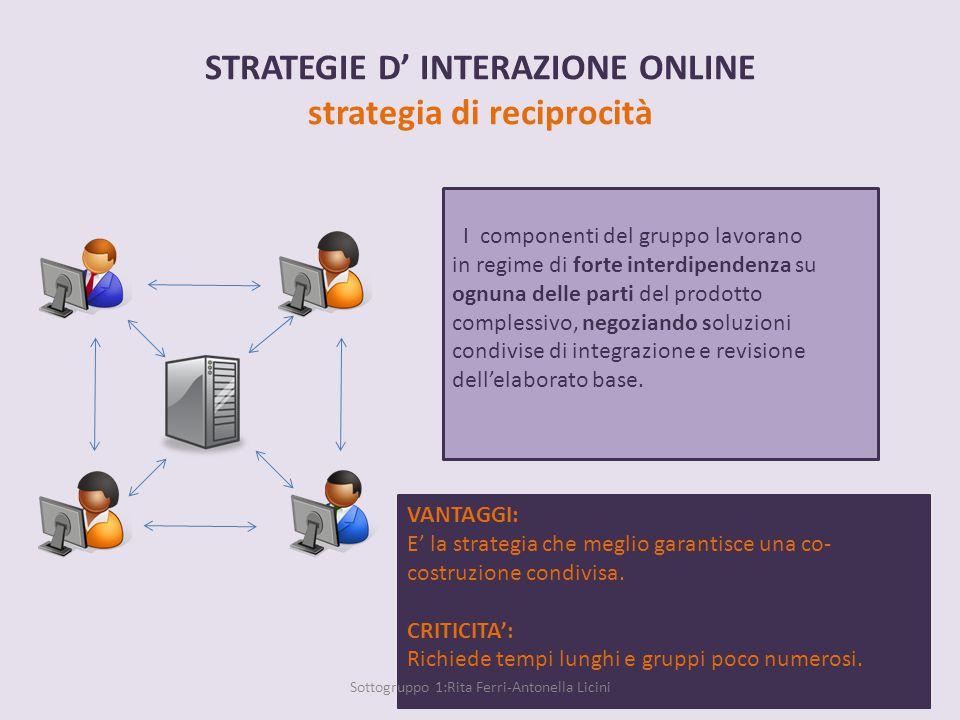STRATEGIE D' INTERAZIONE ONLINE strategia parallela Ogni componente del gruppo lavora in autonomia su una parte concordata del prodotto complessivo, sulla base della pianificazione condivisa delle attività.