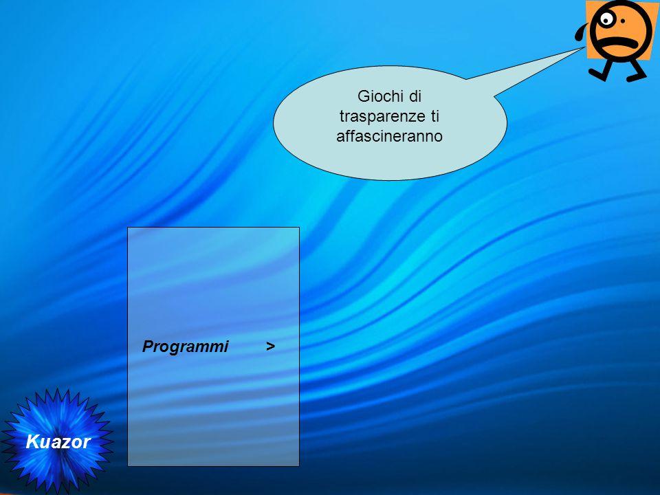 Kuazor Programmi > Giochi di trasparenze ti affascineranno