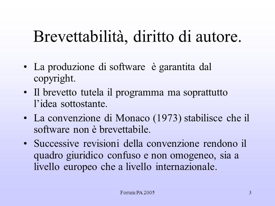 Forum PA 20053 Brevettabilità, diritto di autore.
