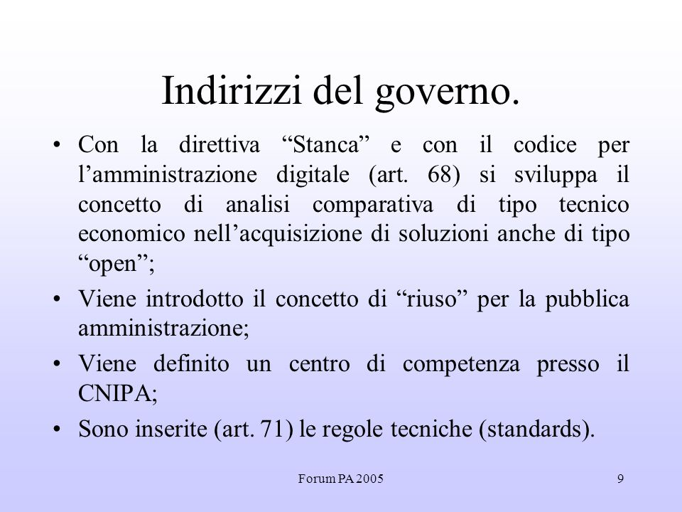 Forum PA 20059 Indirizzi del governo.