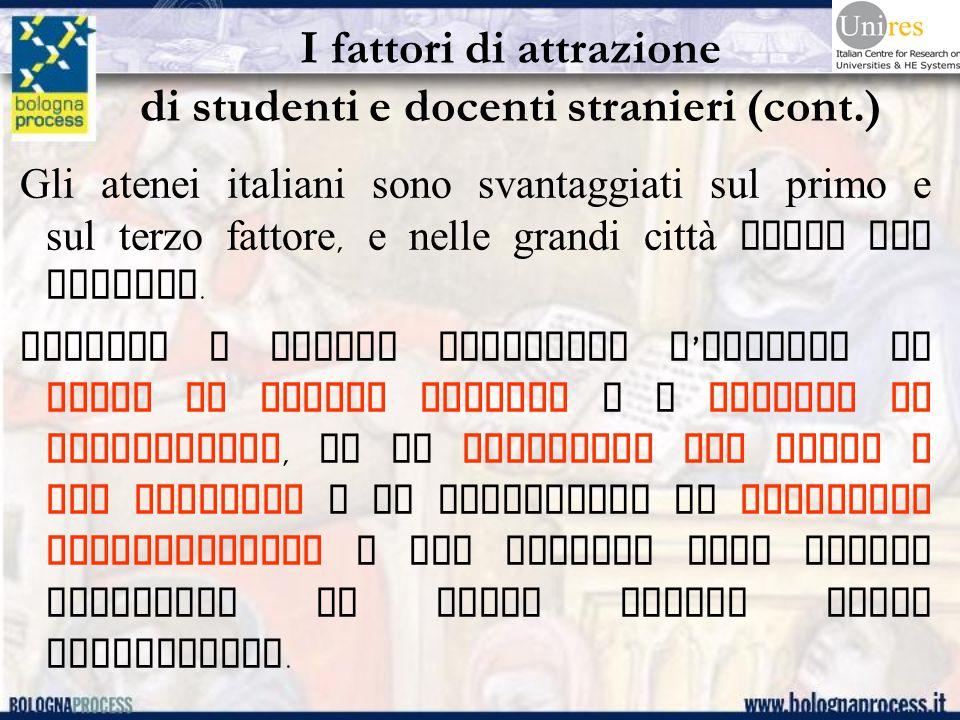 I fattori di attrazione di studenti e docenti stranieri (cont.) Gli atenei italiani sono svantaggiati sul primo e sul terzo fattore, e nelle grandi città anche sul secondo.